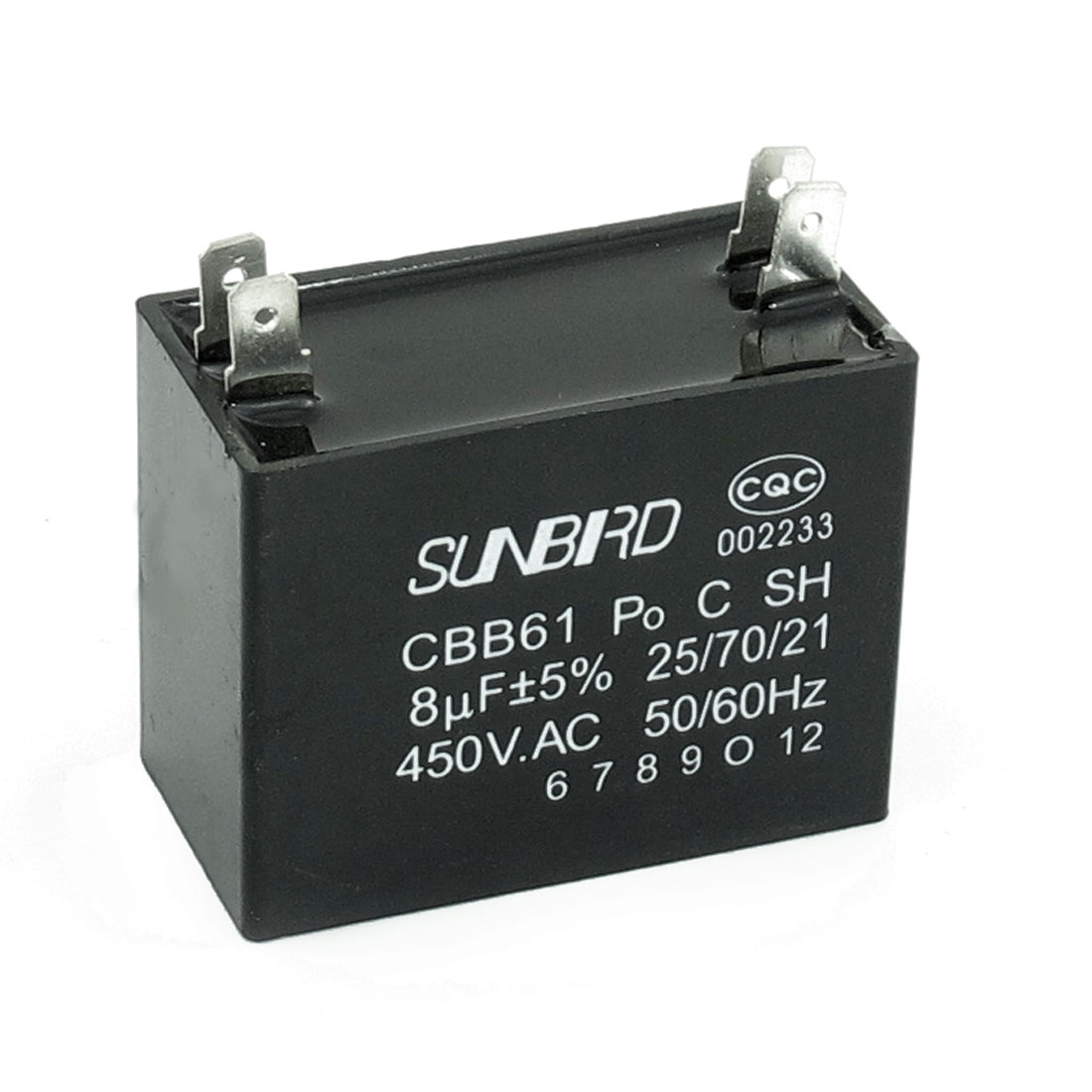 CBB61 8uF 5% 450V AC Polypropylene Film 4 Pin Terminals Motor Capacitor