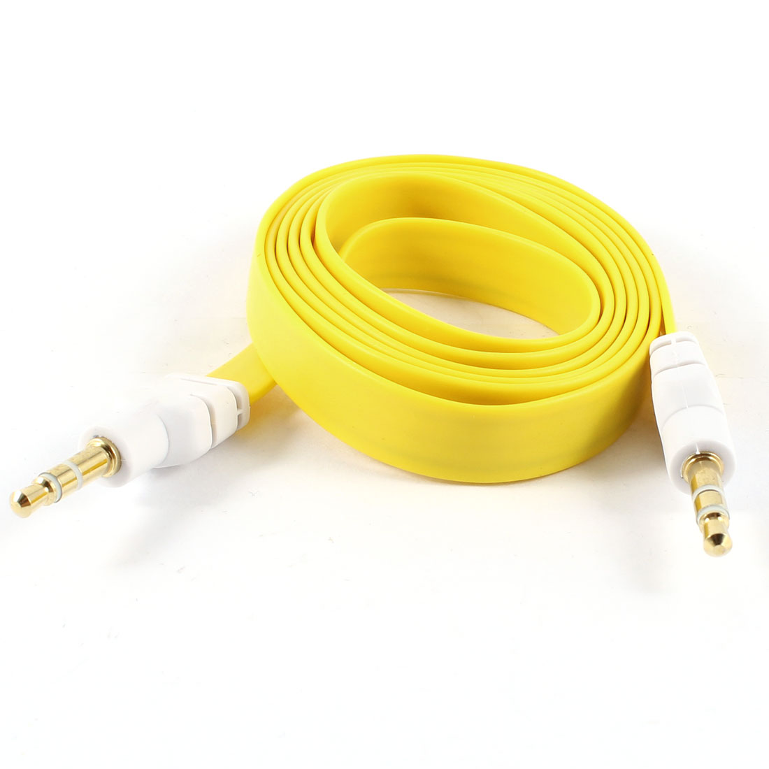 1M 3.5mm Male to Male Connector Flat Audio Cable Auxiliary Line Yellow for MP3 MP4