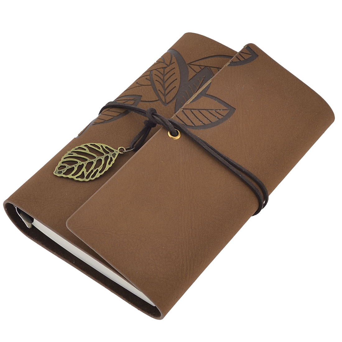 Drawstring Closure Design 6-ring Binder Organizer Writing Notebook Brown