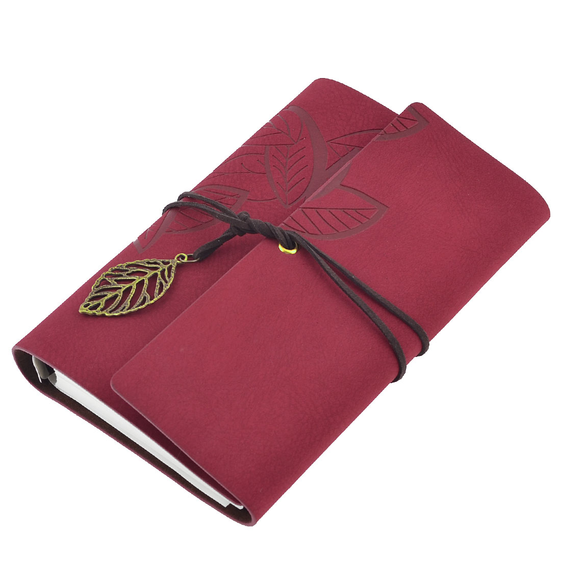 Leaf Pattern Red Faux Suede Cover Replaceable Diary Journal Notebook