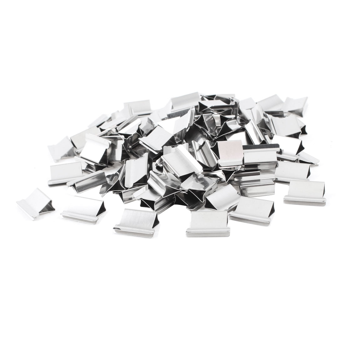 Office Stationery Clam Clips Dispenser Metal Reusable Refill Silver Tone 100pcs