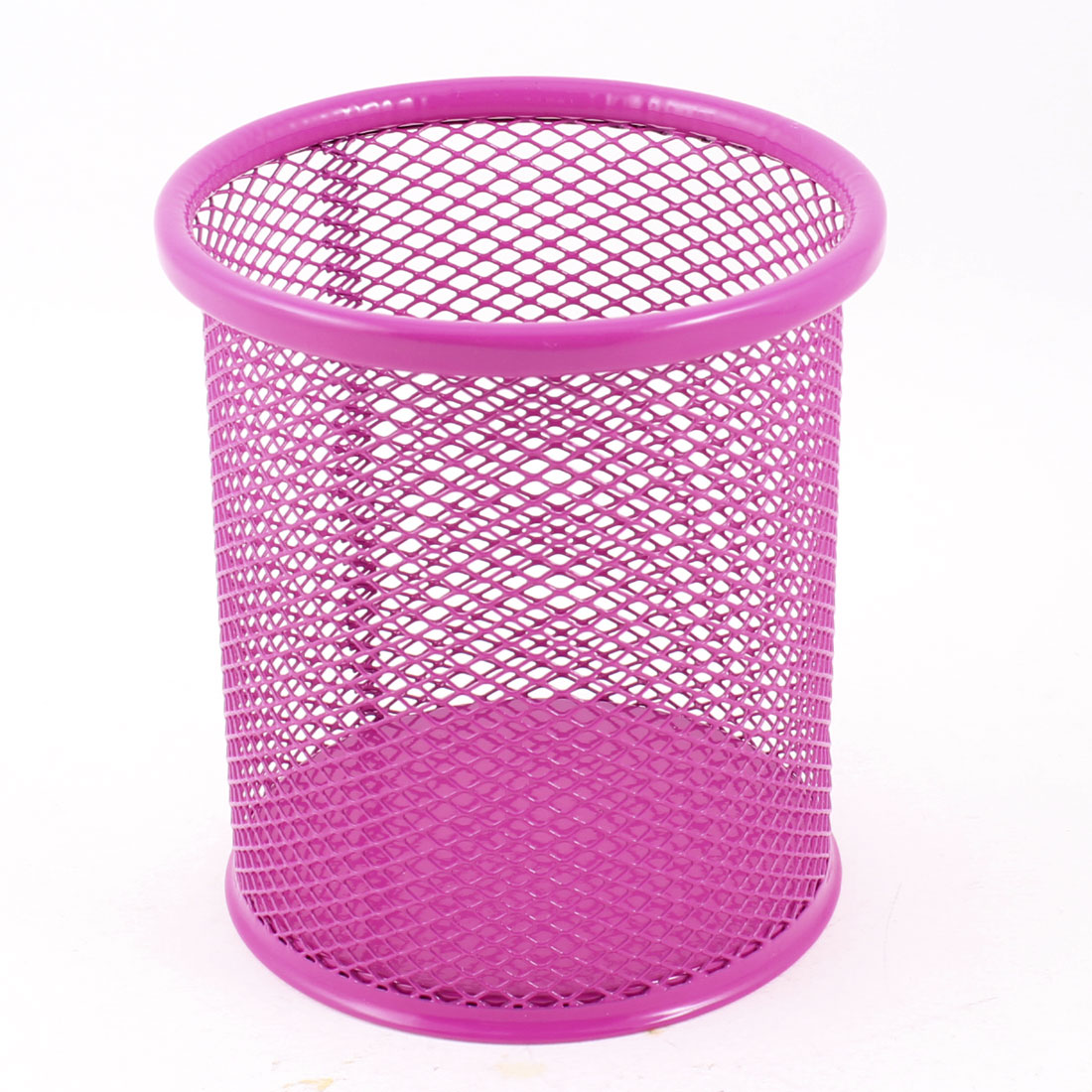 Office Metal Cylinder Style Mesh Pen Holder Ruler Organizer 9.8cm Height Fuchsia