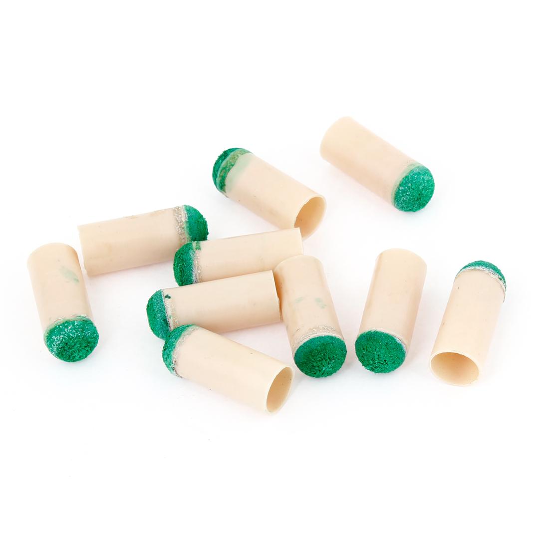 Green Beige Plastic 10mm Dia Cylindrical Billiards Stick Pole Tips 10Pcs