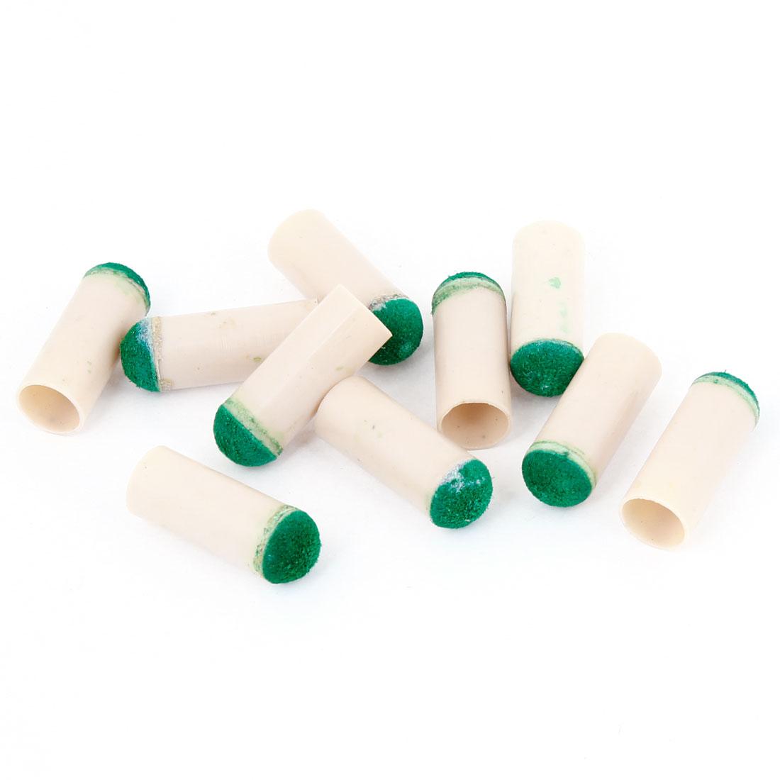 Beige 9mm Chalk Shape Billiards Stick Rod Shaft Protective Tips 10 Pcs
