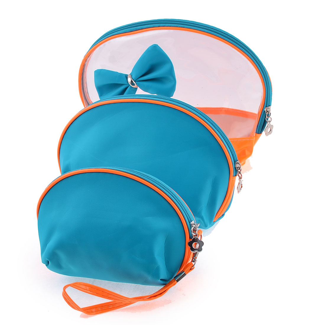 Lady Blue Orange Clear Soft Plastic Nylon Zip Up Makeup Cosmetic Bags 3 in 1