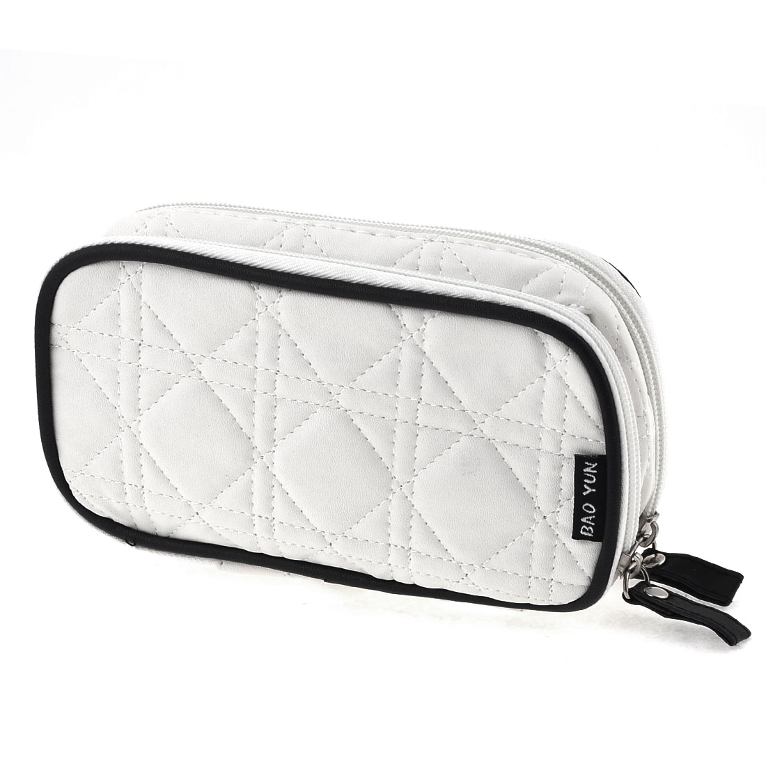 Women Rectangle White Faux Leather 2 Compartment Zipped Cosmetic Bag w Mirror