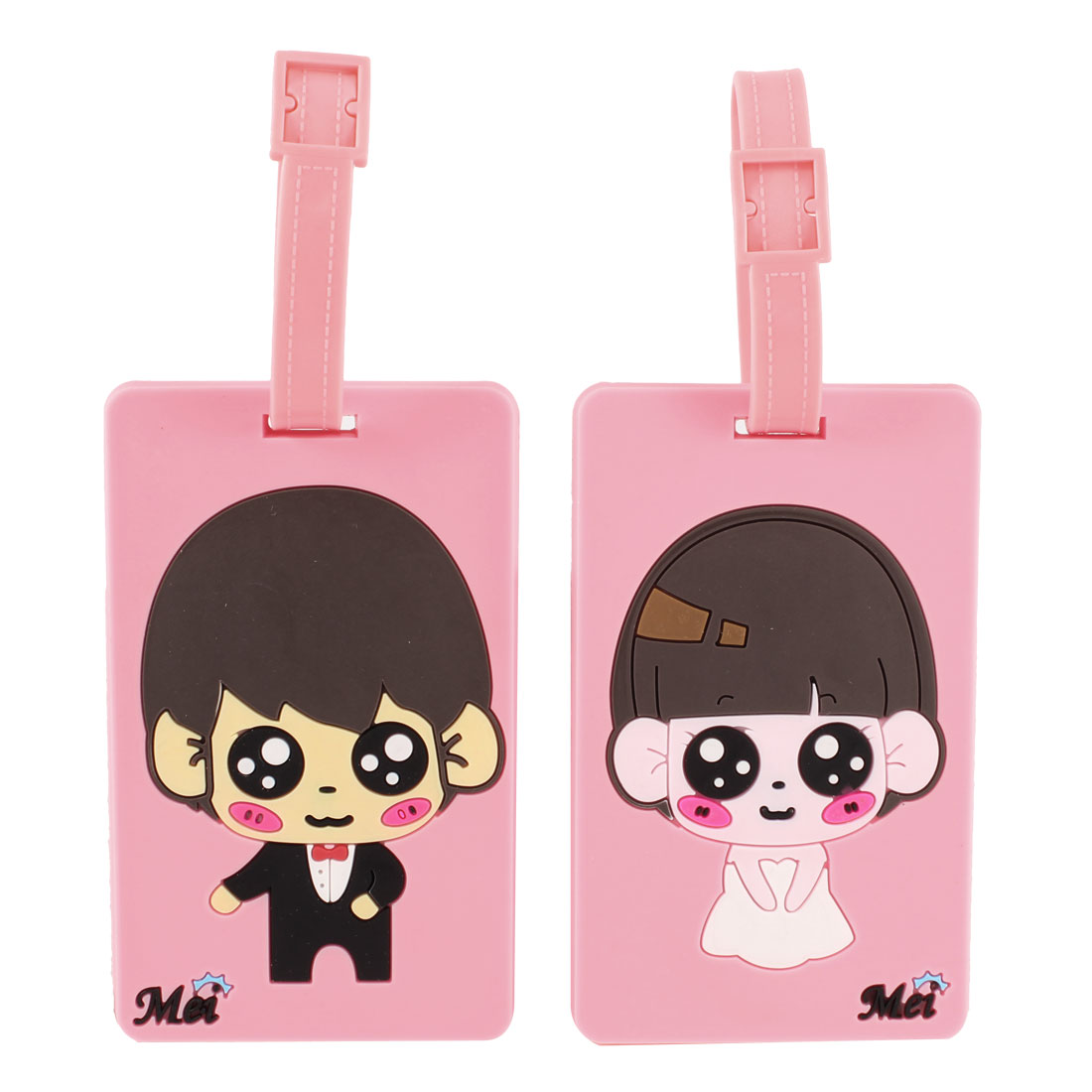 Pair Pink Coffee Color Cartoon Boy Girl Design Name ID Label Couples Luggage Tag