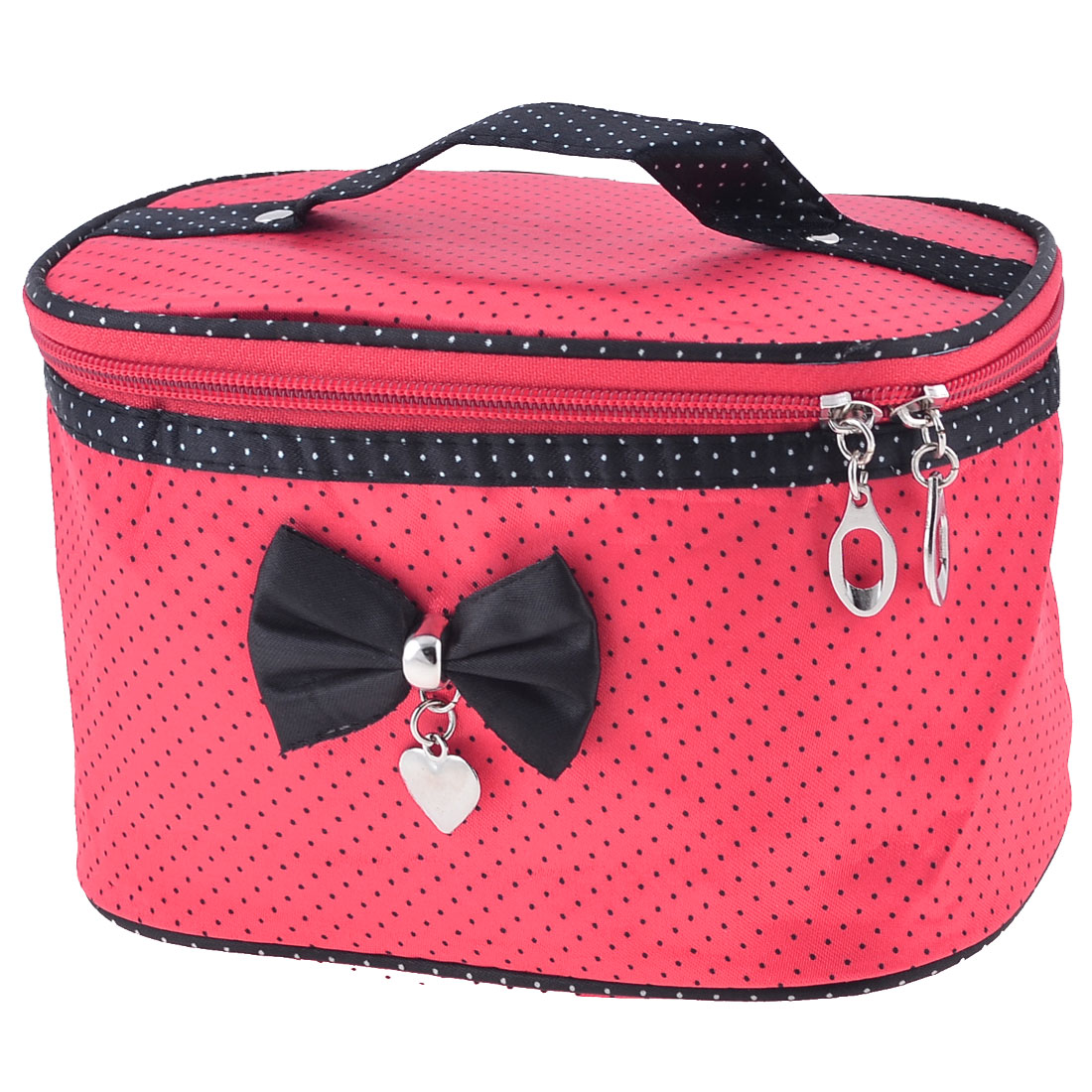 Women Dots Print Bowknot Detailing Travel Black Red Cosmetic Bag