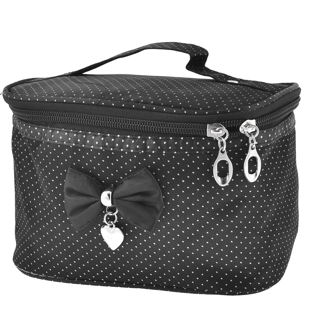 Lady Dots Print Zip up Closure Black White Cosmetic Bag Purse w Mirror