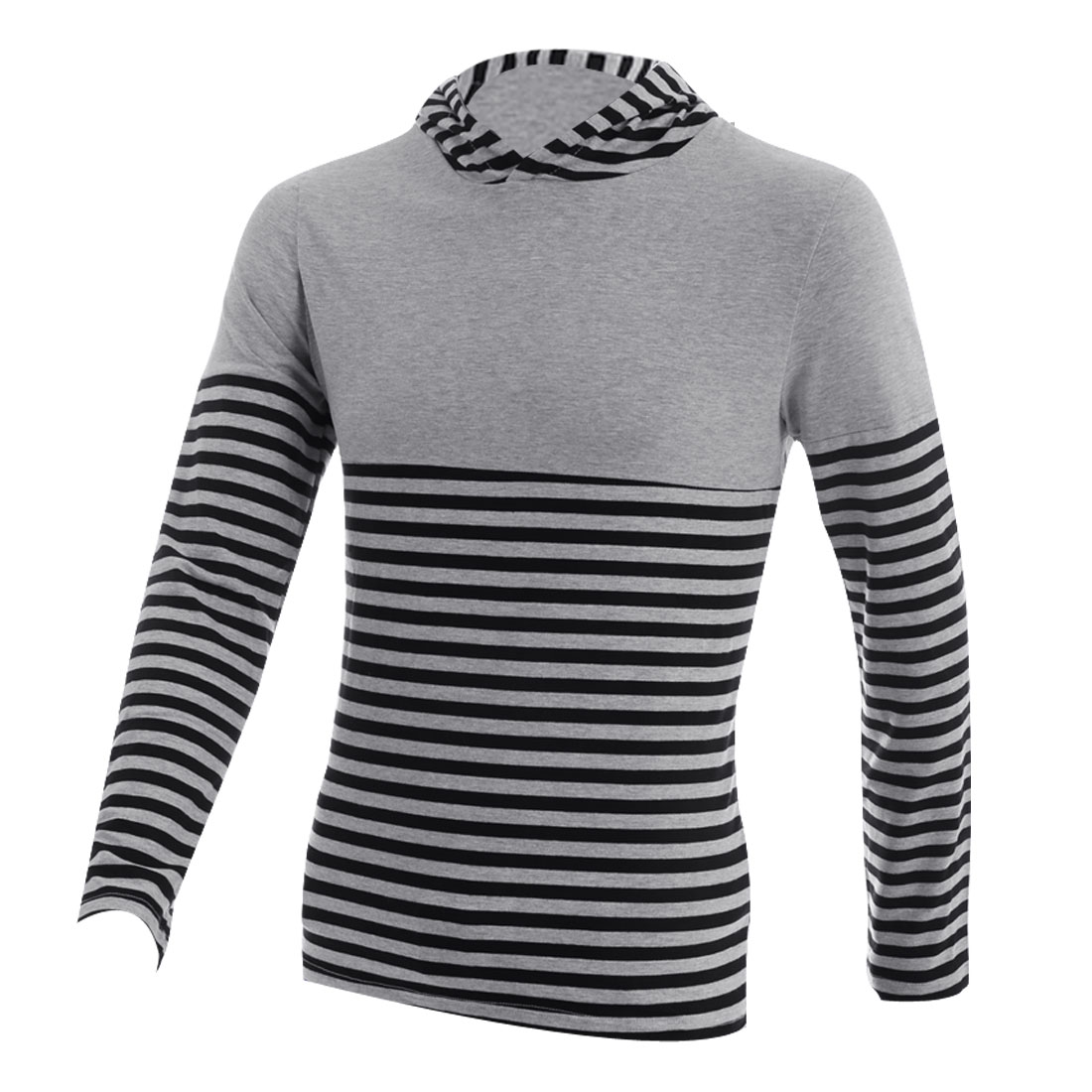 Man Long Sleeved Stripes Pattern Black Light Gray Hooded Top Shirt S