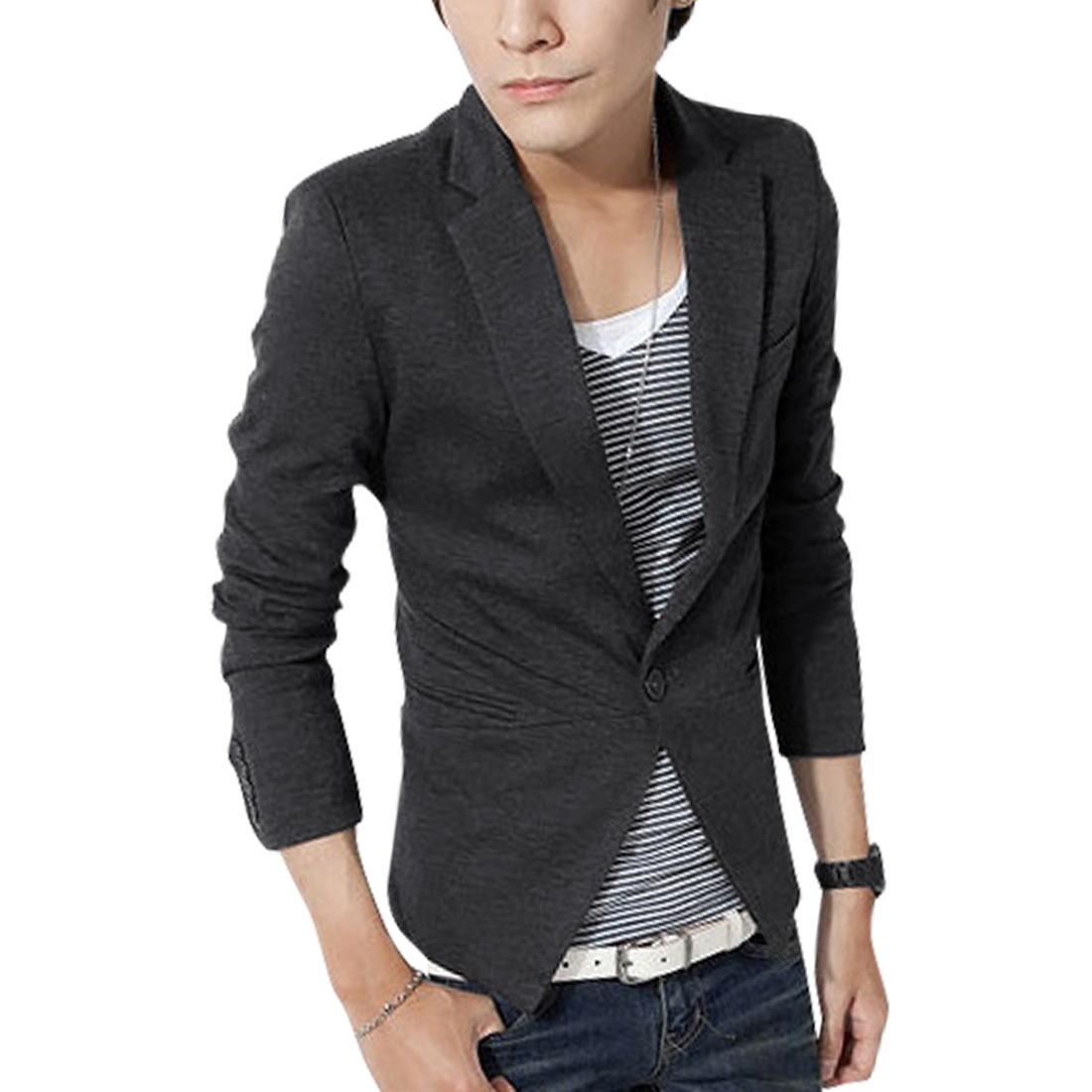 Men's Stylish Notched Lapel Long Sleeves Dark Gray Blazer S