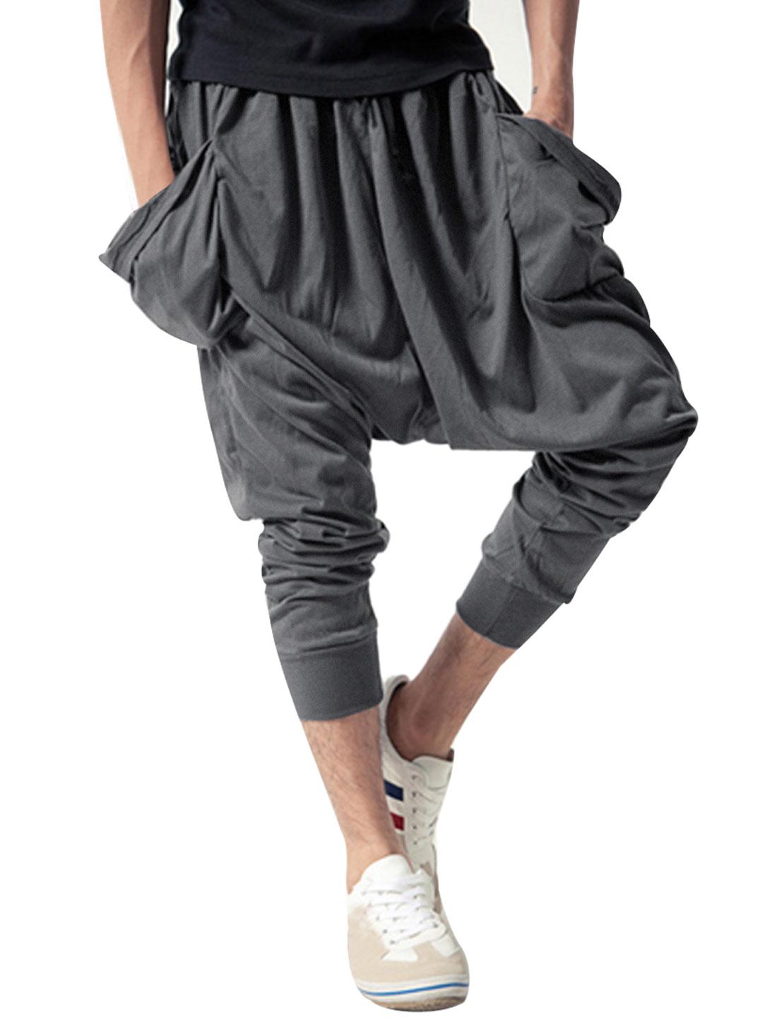 Men Elastic Waist Korean Style Capris Harem Pants Gray W28