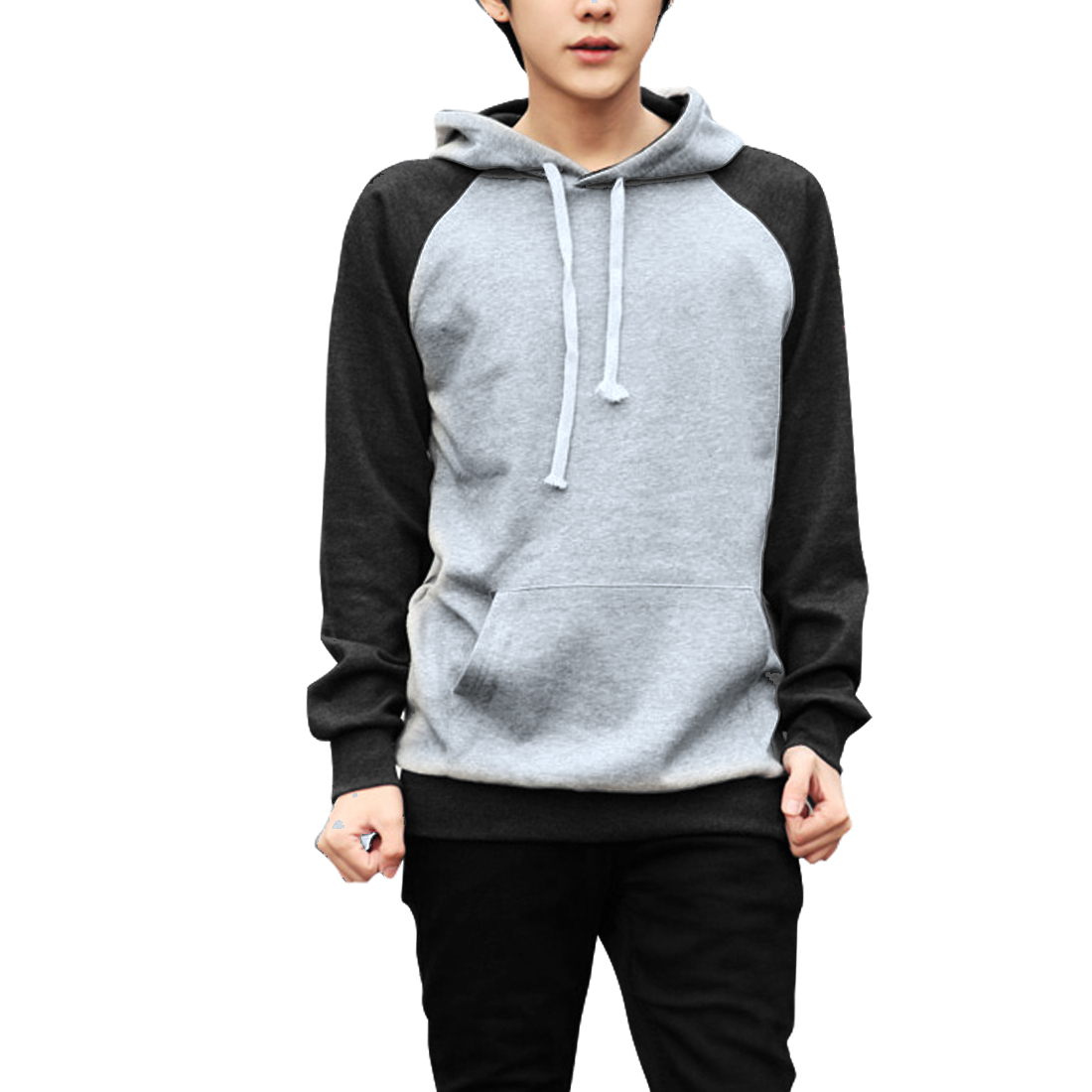 Men Hooded Pullover Color Blocking Hoodies Light Gray Dark Gray M