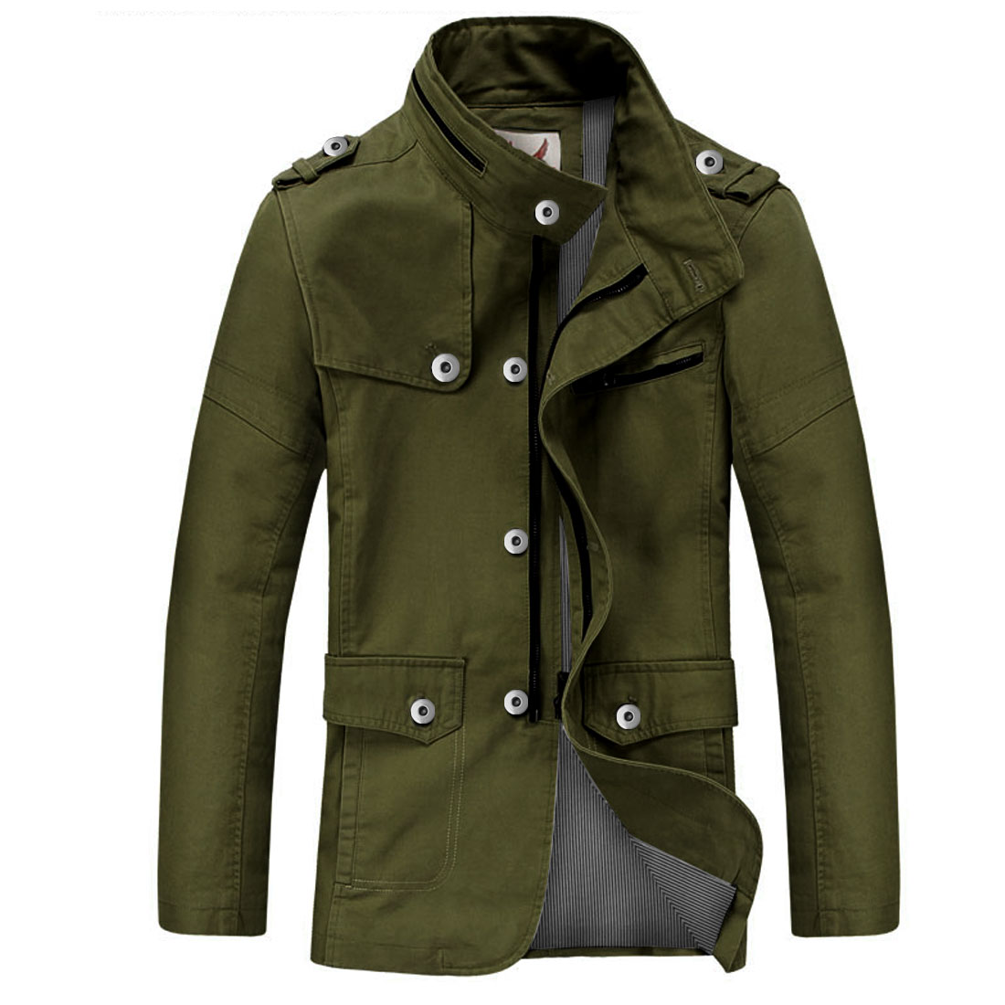 Men Stand Collar Zip Up Pockets Below Jacket Army Green M