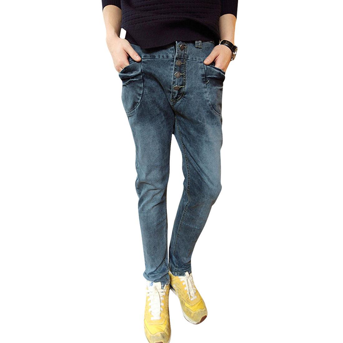 Men's Fashionable Easy-wear Soft Loose Denim Blue Jeans W32