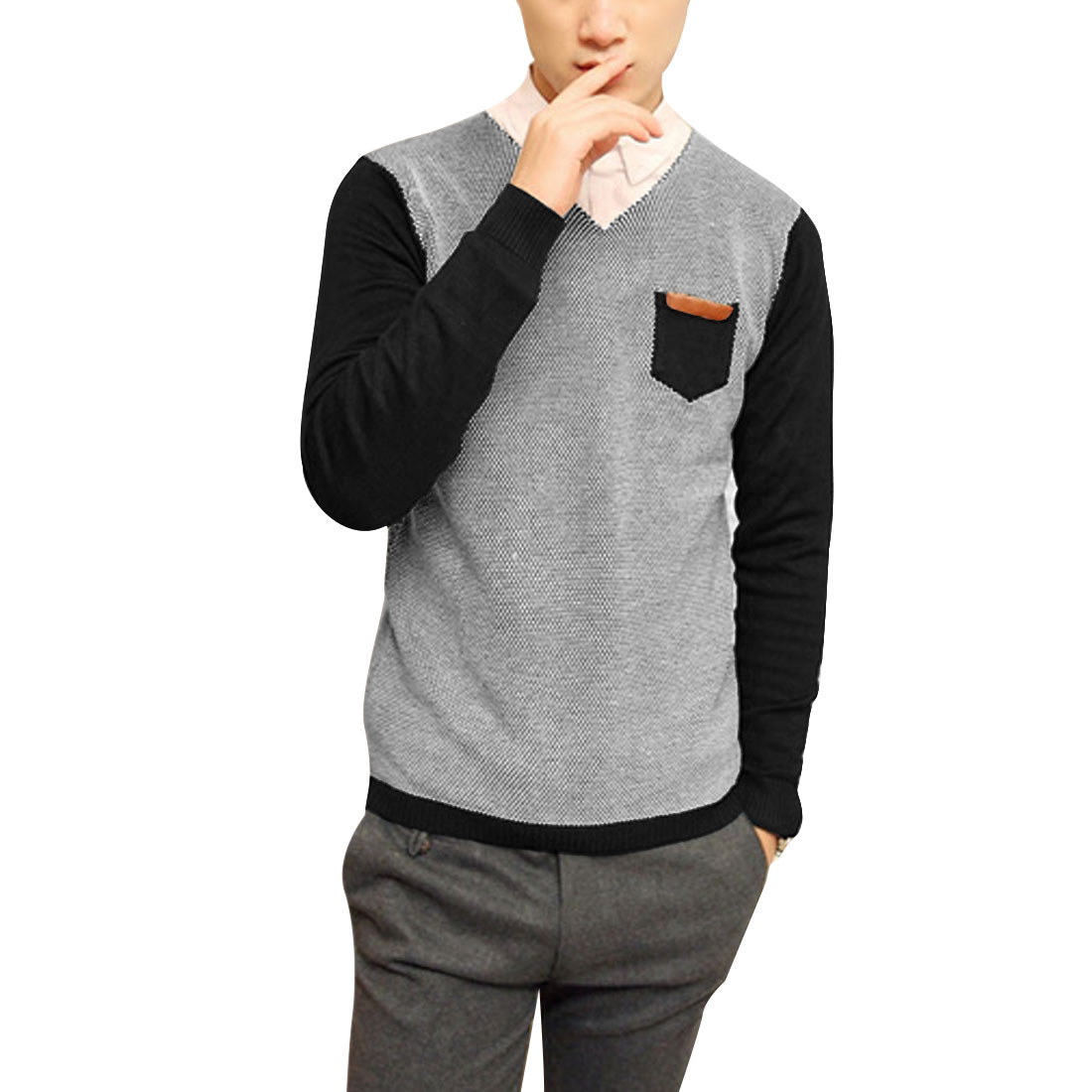 Men V Neck Long Sleeve Light Gray Black Colorblock Sweater S