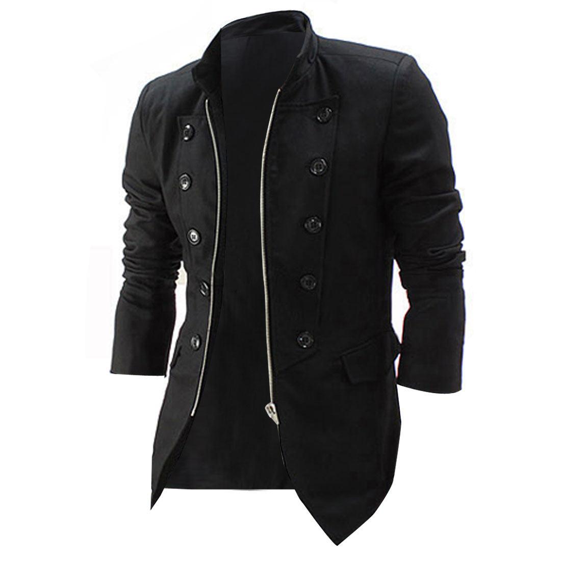 Men Pure Black Color Double Breasted Front Zip-Up Closure Blazer Jacket M