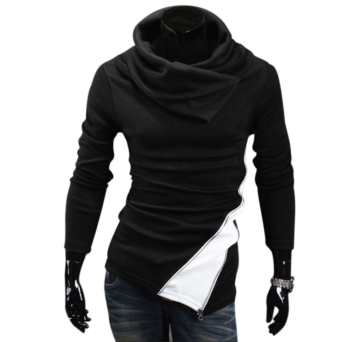 Men Cowl Neck Pullover Slant Zipper Decor Knit Top Black M