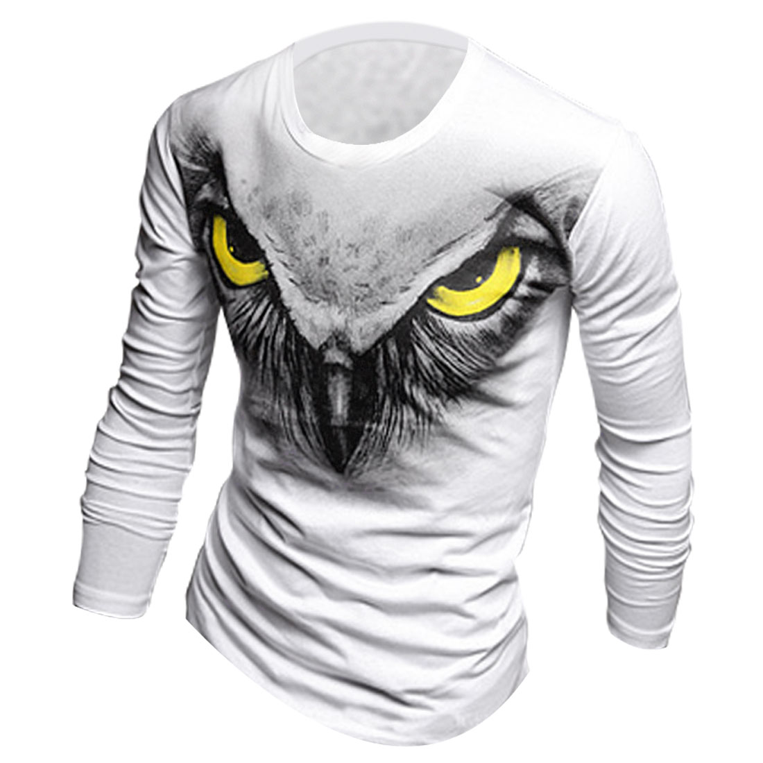 Pullover Stretchy Eagle Pattern Front White Casual T-Shirt for Man M