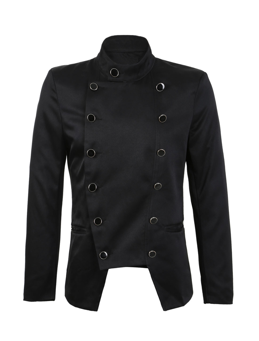 Men Convertible Collar Long Sleeve Stylish Blazer Black M