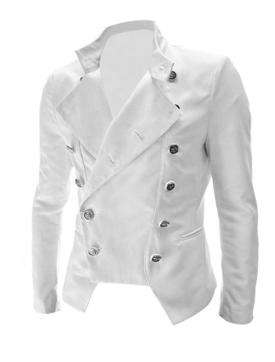 Men Convertible Collar Double Breasted Pockets Blazer White M
