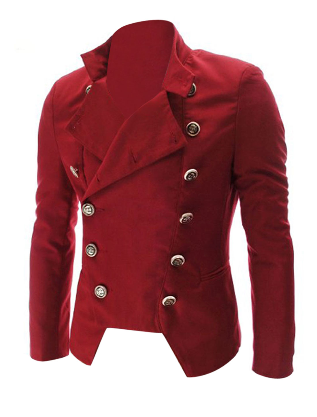 Men Casual Slim Fit Pocket Irregular Double Breasted Suit Jacket Blazer Red M