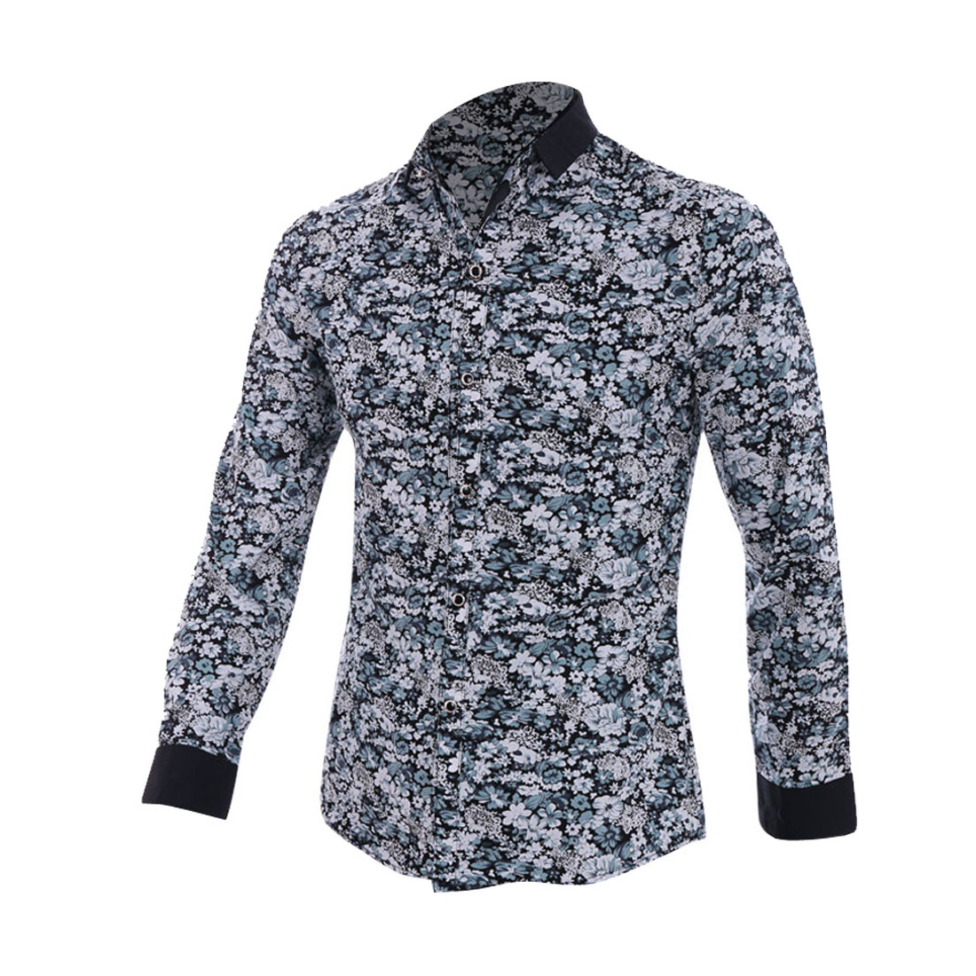 Blue Point Collar Reversible Cuff Floral Pattern Button Closure Men Shirt S