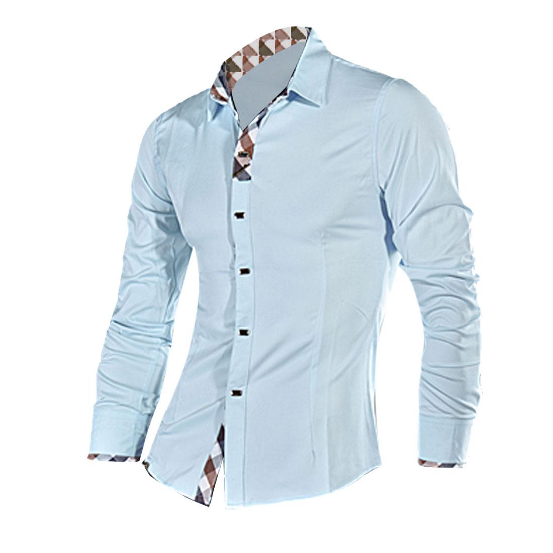 Men Point Collar Long Sleeve Round Hem Shirt Light Blue M