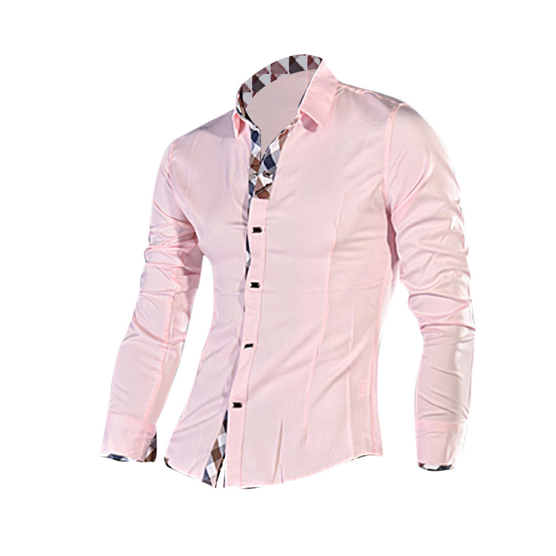 Men Button Closure Plaids Splice Cuffs Collar Shirt Pink M