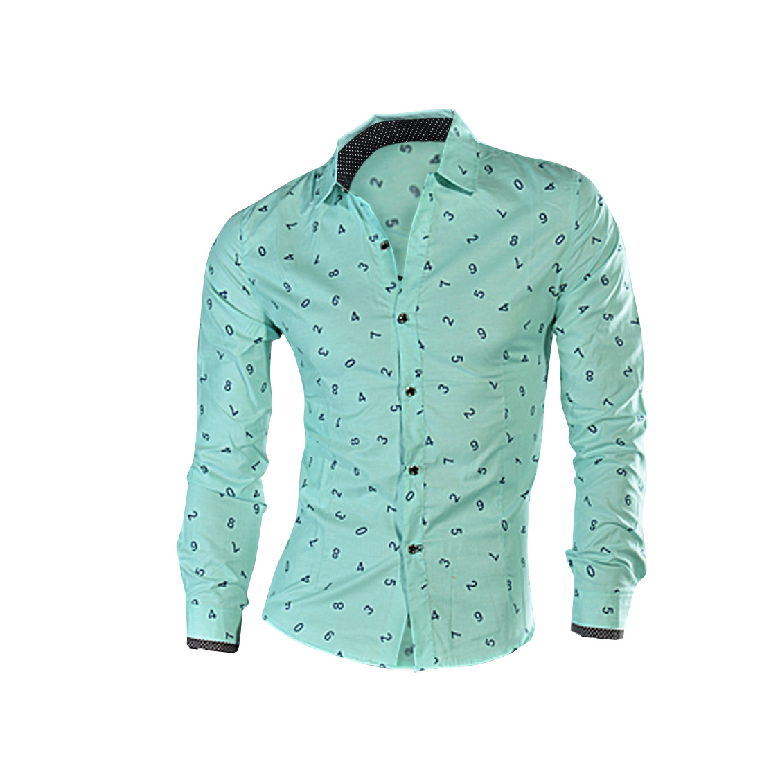 Men Point Collar Long Sleeve Digit Pattern Light Green Button Down Shirt S