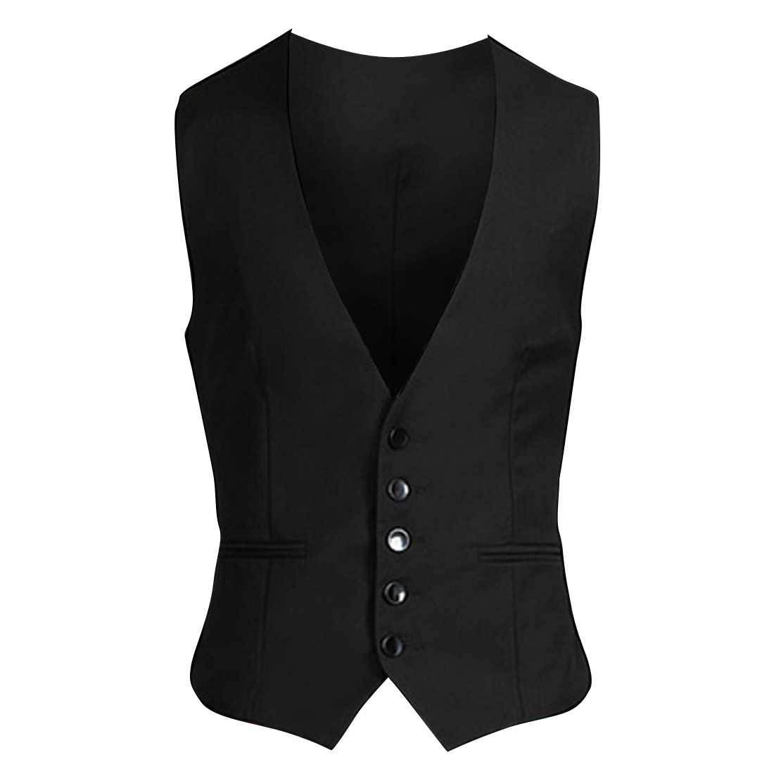 Pure Black Color Button Front Buckle Band Back Design Vest Coat for Man S