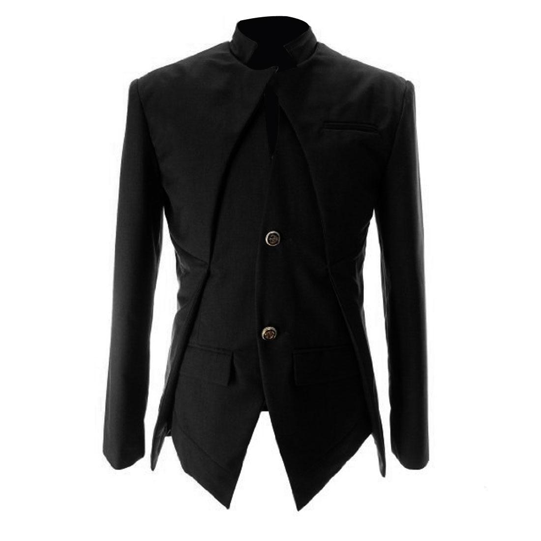 Men Pure Black Two-Button Front Closure Irregular Hem Blazer Jacket S