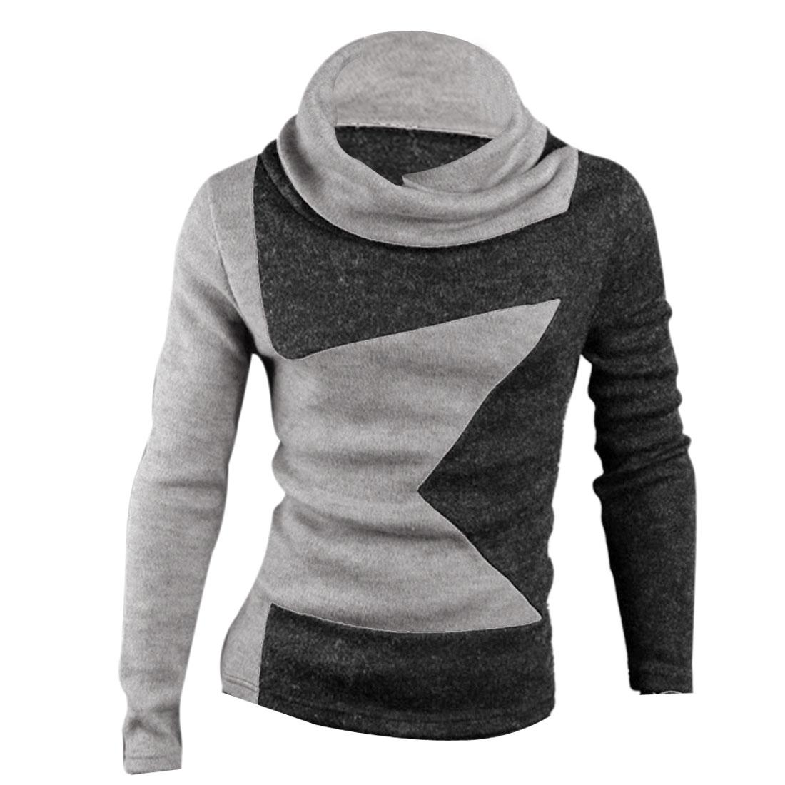Men Cowl Neck Pullover Star Pattern NEWS Knit Shirt Gray Dark Gray S