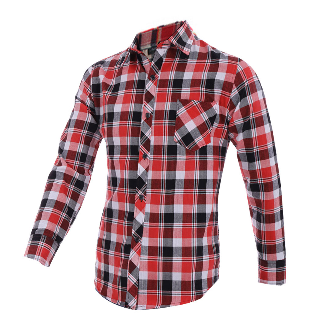 Man Red Plaid Print Long Sleeve Single Breast Pocket Button Up Shirt M