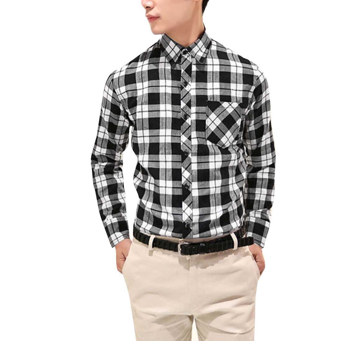 Man Point Collar Single Breasted Plaid Long Sleeve Top Black Shirt S