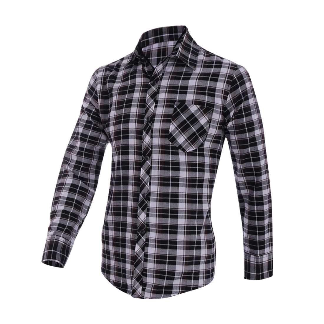 Black Point Collar Single Breasted Patch Pocket Slim Fit Shirt Man M