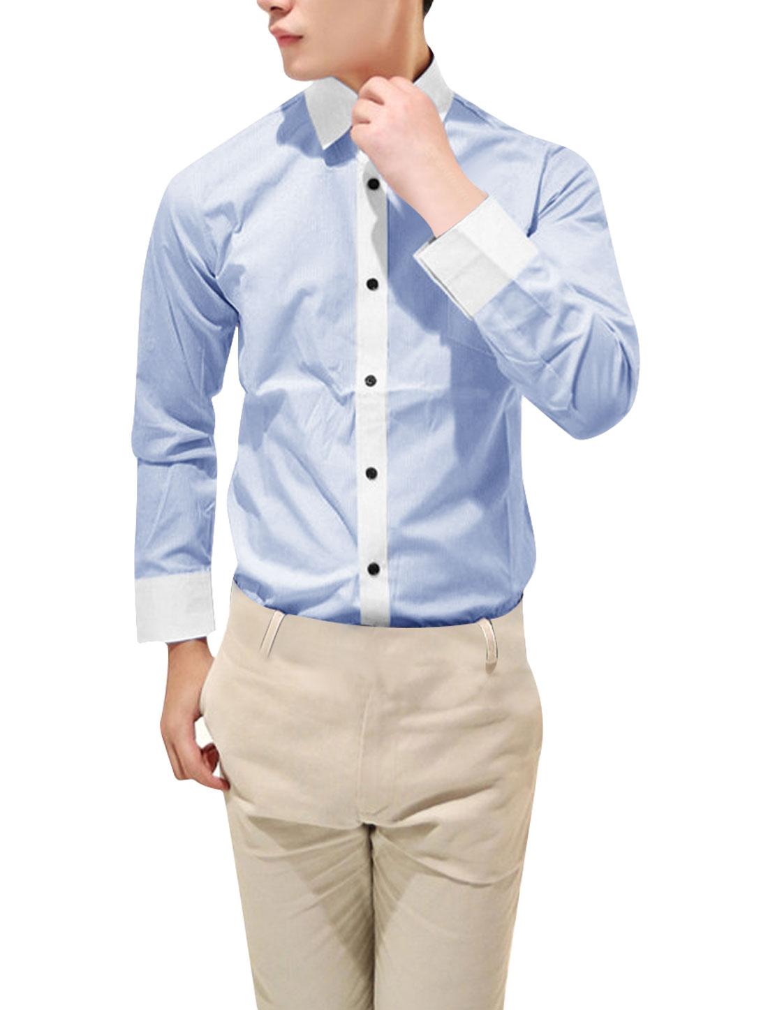 Men Light Blue White Vertical Striped Slim Fit Button Down Shirt M