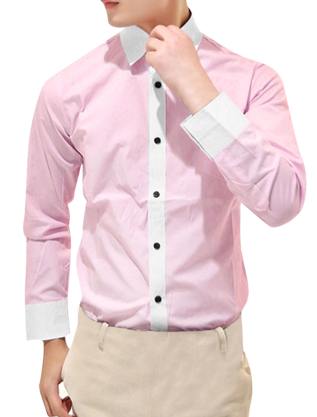 Man Long Sleeve Pink White Vertical Stripes Pattern Button Down Shirt M