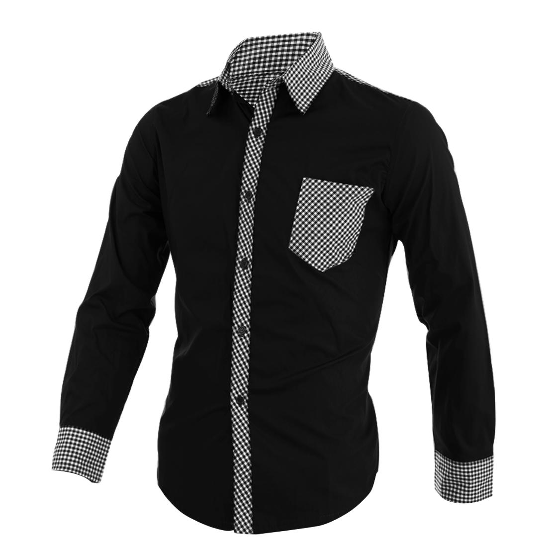 Men Chic Point Collar Long Sleeved Plaids Detail Black Casual Shirt M
