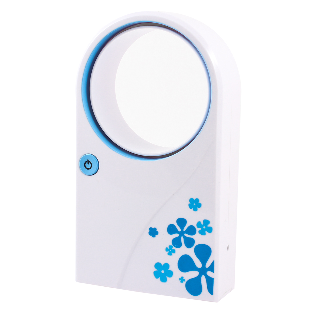 USB Battery Power Hand Held Air Condition No Leaf Fan White Blue