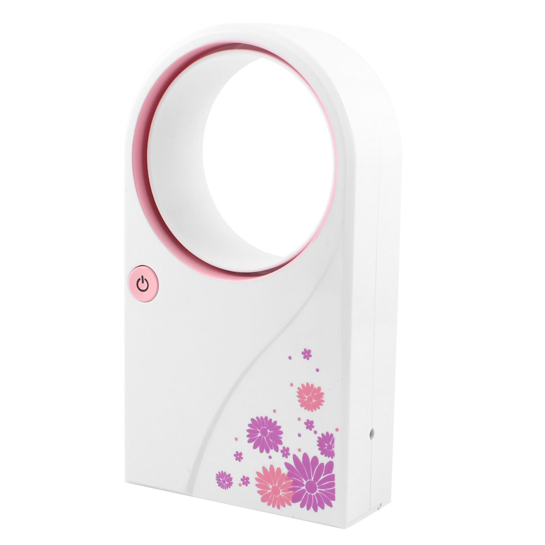 USB Battery Power Hand Held Air Condition No Leaf Fan White Pink