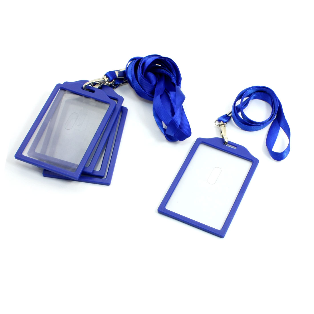5Pcs Company Blue Vertical Business Name Badge Card Holder w Nylon Strap