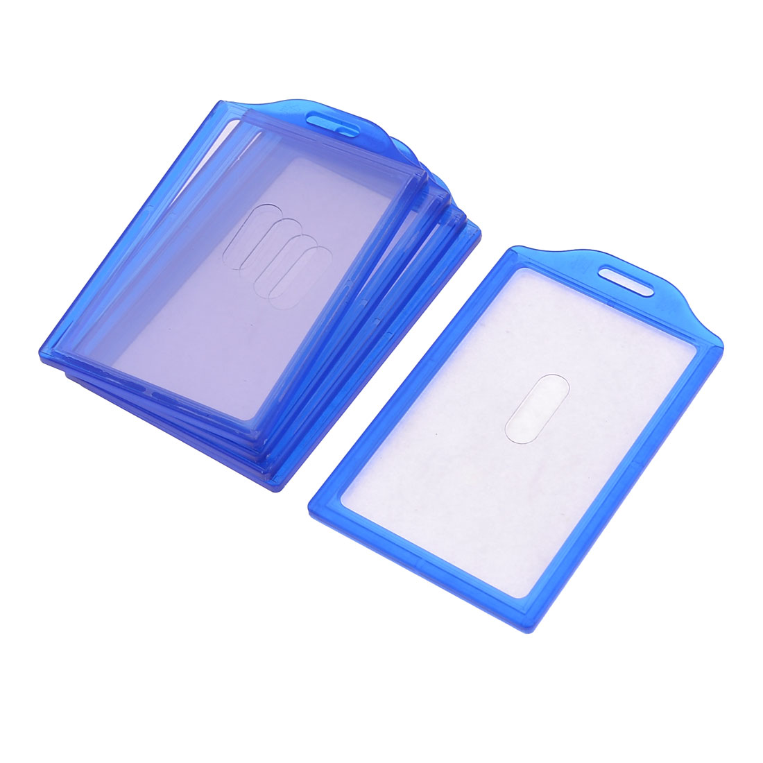 5pcs Blue Plastic Frame Vertical School Business Work Slide ID Card Holder 84mm x 52mm