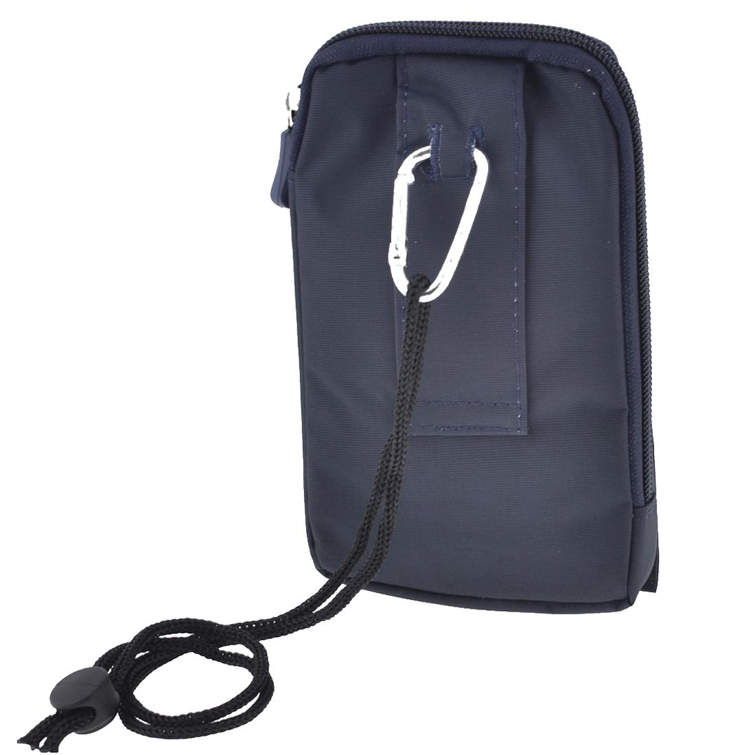 Men Lady Climbing Zipper Closure Vertical Wasit Pack Bag Pouch Dark Blue