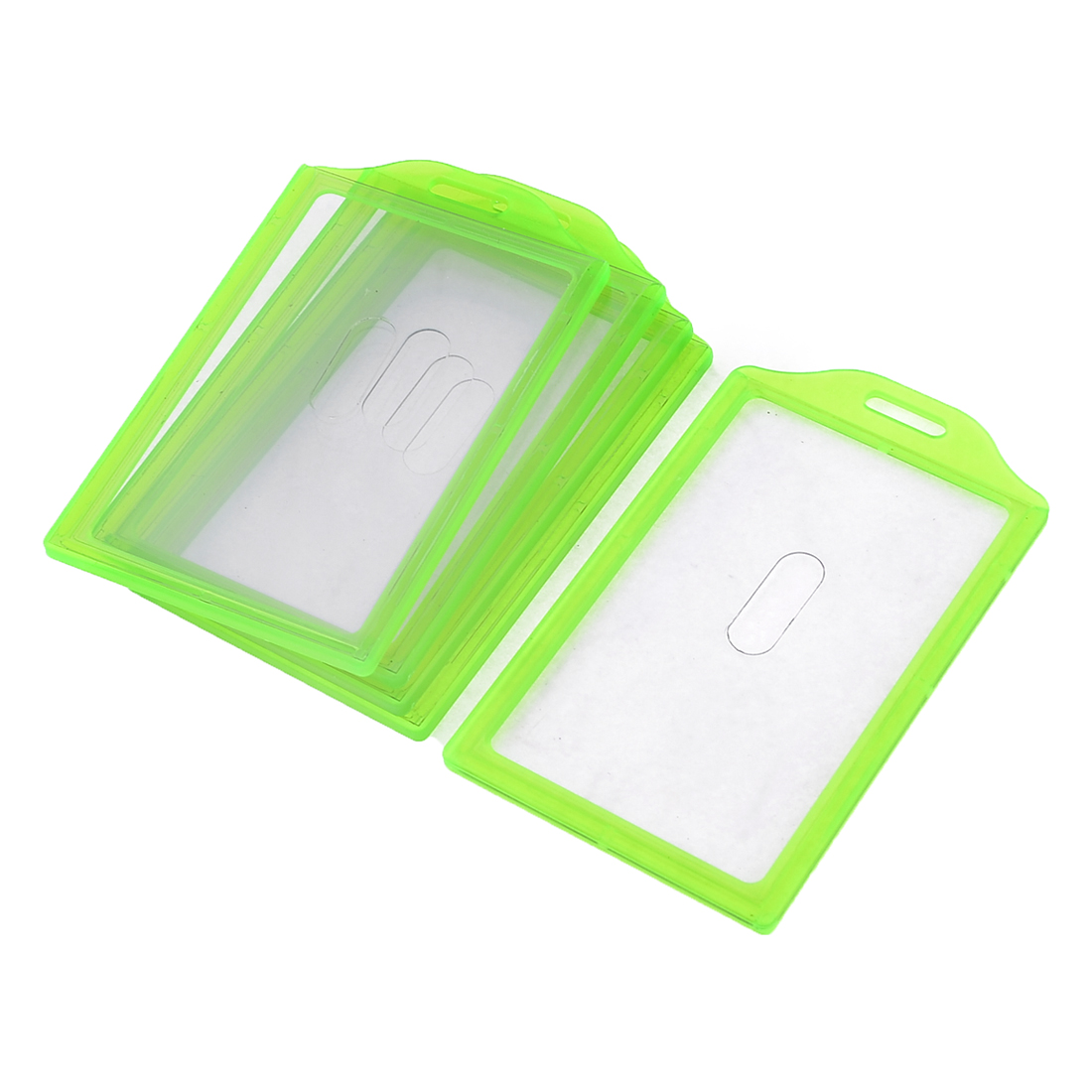 5pcs Green Plastic Frame Vertical School Slide ID Card Holder 84mm x 52mm