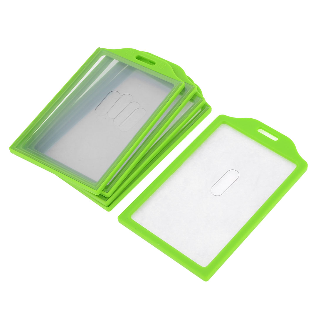 5pcs Grass Green Plastic Frame Vertical School Slide ID Card Holder 91mm x 59mm