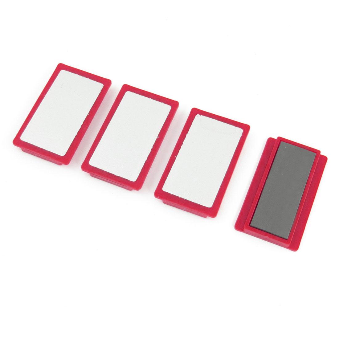 4pcs 5cm x 3cm Red Plastic Frame Whiteboard Magnetic Stripes for Office
