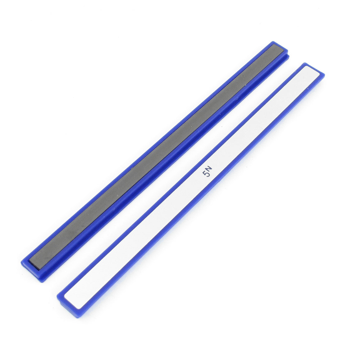 2 Pcs Office Blue Plastic Frame Whiteboard Magnetic Stripes Bars 20cm Long
