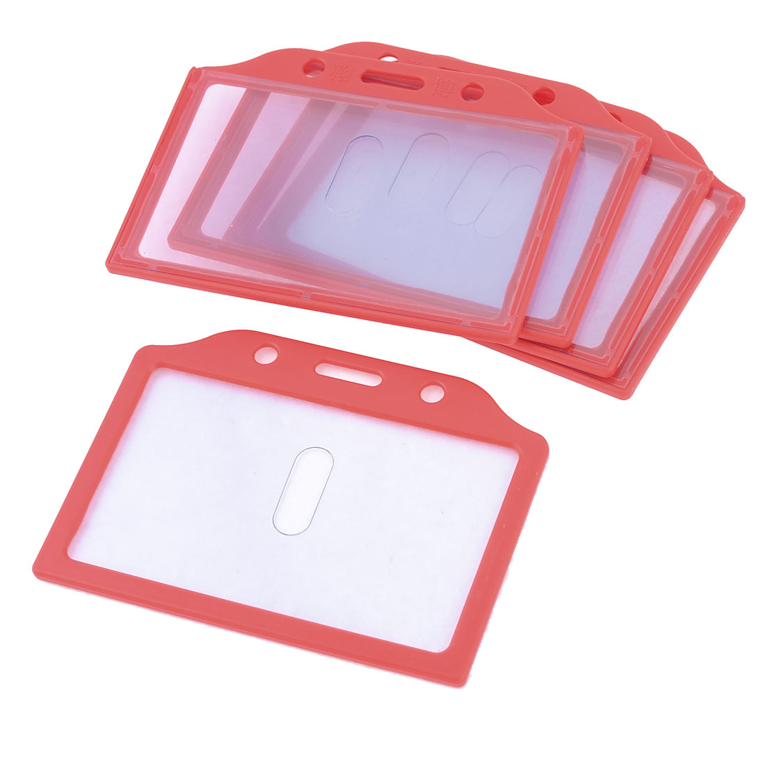 5pcs Red Plastic Frame Vertical School Slide ID Card Holder 85mm x 52mm