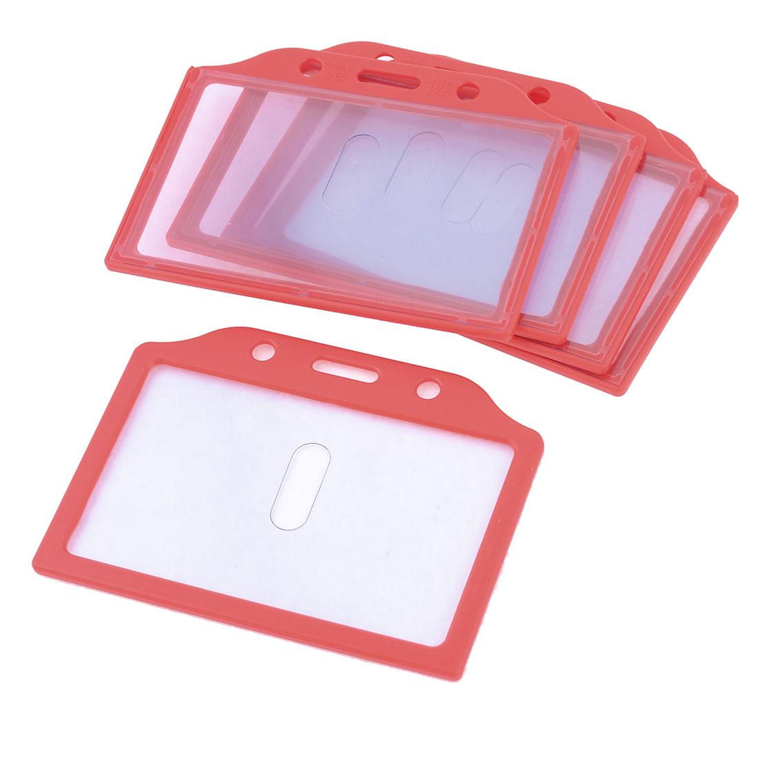 5pcs Red Plastic Frame Vertical School Slide ID Card Holder 85mm x 52mm